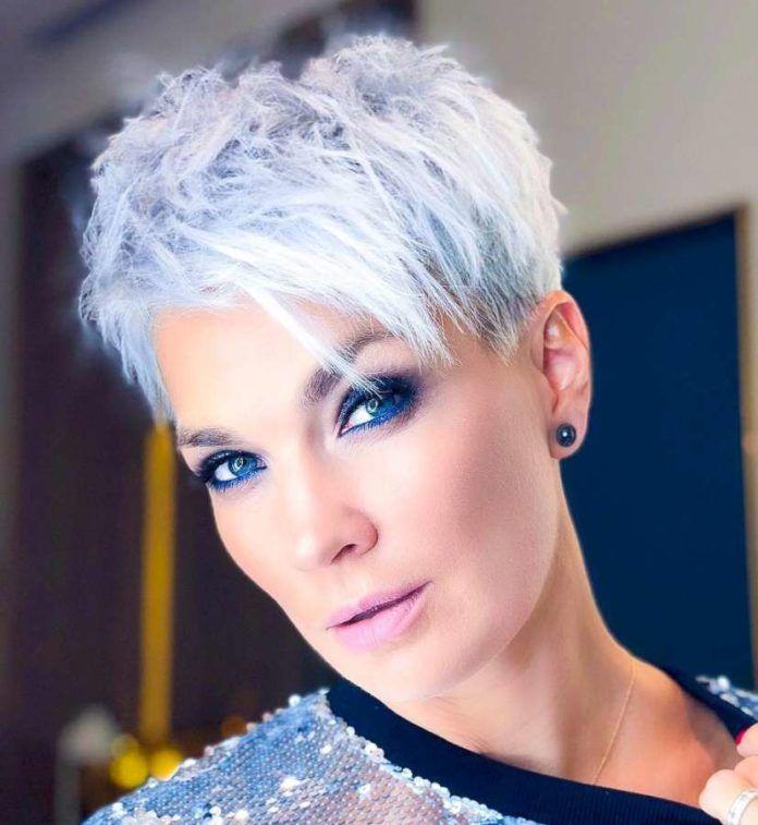 weiße und graue kurze haare 2019 | kurzhaarfrisuren, kurze