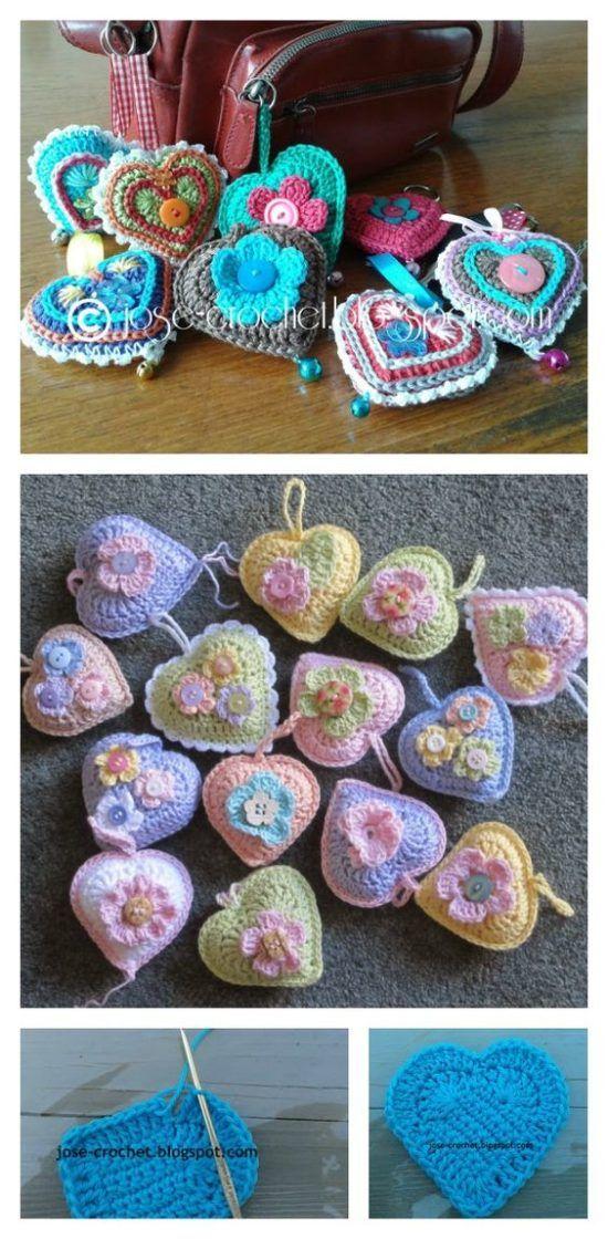 Crochet 3D Heart Pattern Video Tutorial | Llaveros, Tejido y Ganchillo