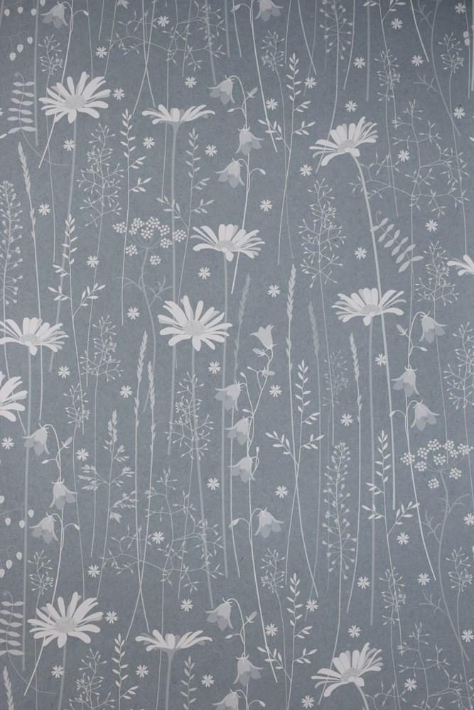 Daisy Meadow Wallpaper In Moonrise Hannah Nunn Grey Floral Wallpaper Woodland Wallpaper Floral Wallpaper