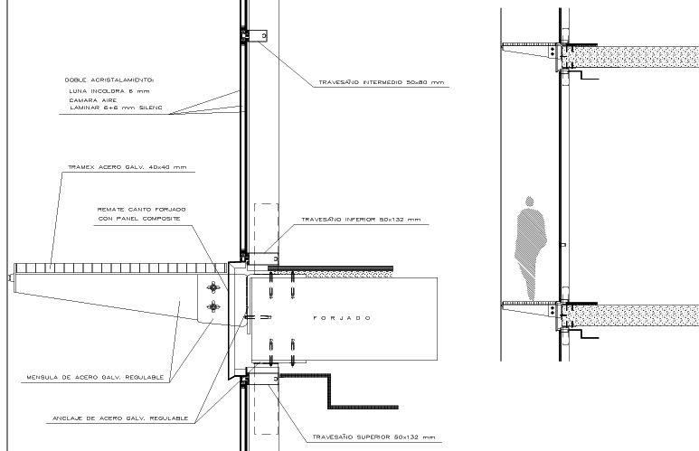 Muro cortina detalle buscar con google construcci n y for Detalle barandilla vidrio