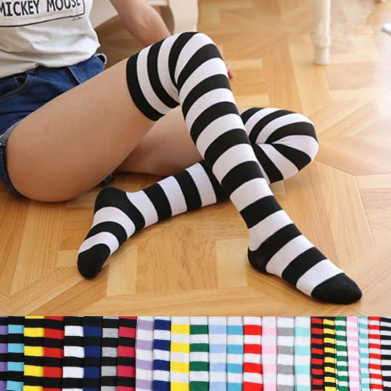 621ce2e83 Fashion Cute Women Girls Kawaii Lolita Cotton Long Striped Thigh High  Stocking Anime Cosplay Over Knee Socks