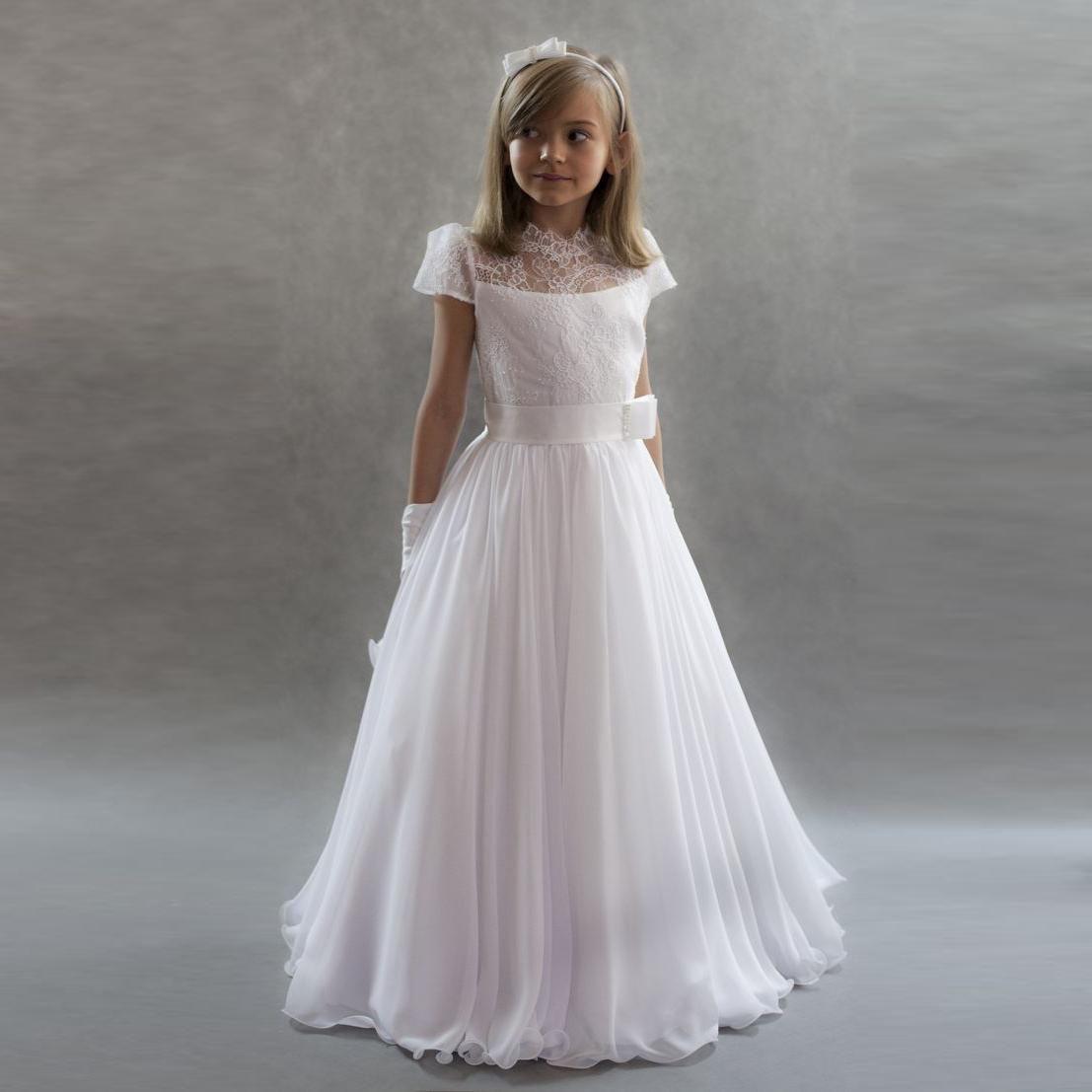 white wedding flower girls dresses for beach princess short