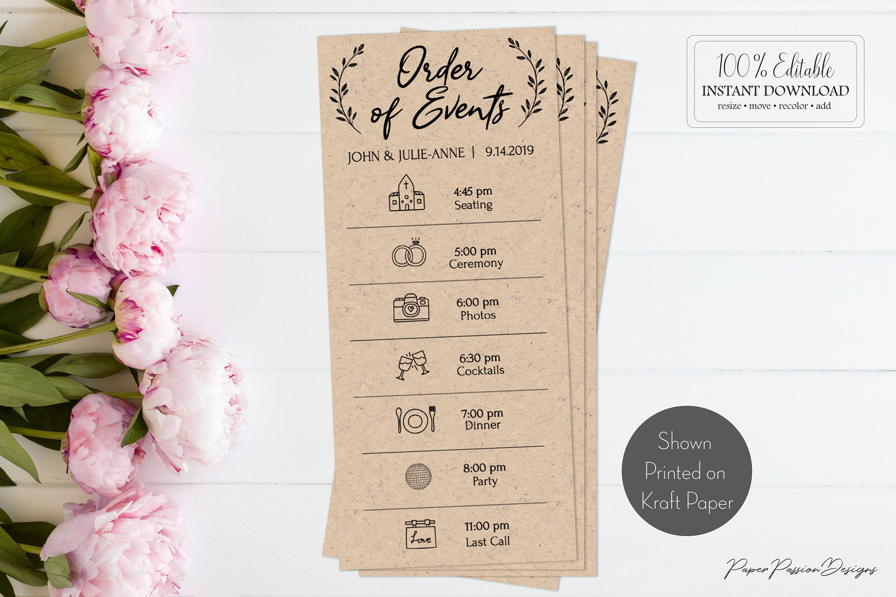 Rustic Wedding Order Of Events Card Printable Timeline Itinerary Agenda 100 Editable Agenda Diy Card Templett Diy Ppw0330 Wedding Order Of Events Wedding Order Event Card