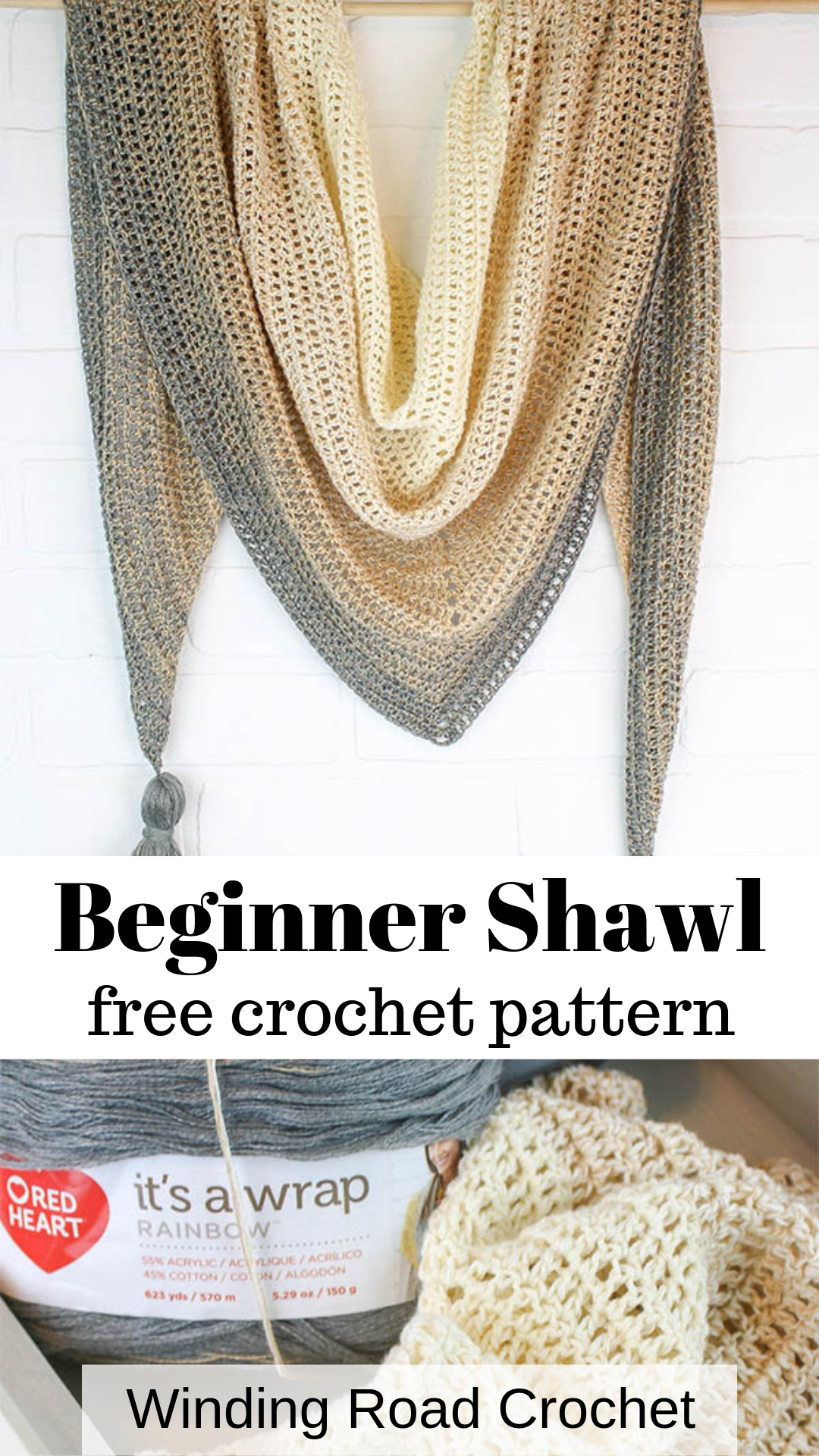 My First Triangle Shawl Free Crochet Pattern - Winding Road Crochet #shawlcrochetpattern