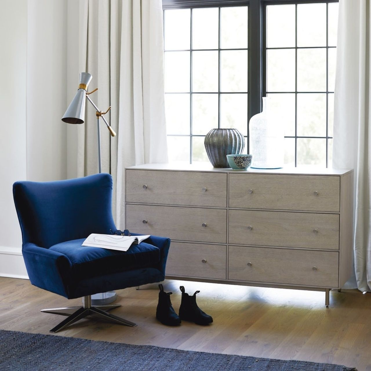 "Urban Modern Mist Gray 6 Drawers Dresser 60"" 6 drawer"