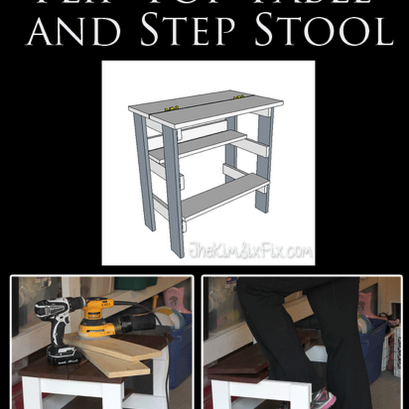 Hinged Top Table with Built in Step Stool Stool, Home