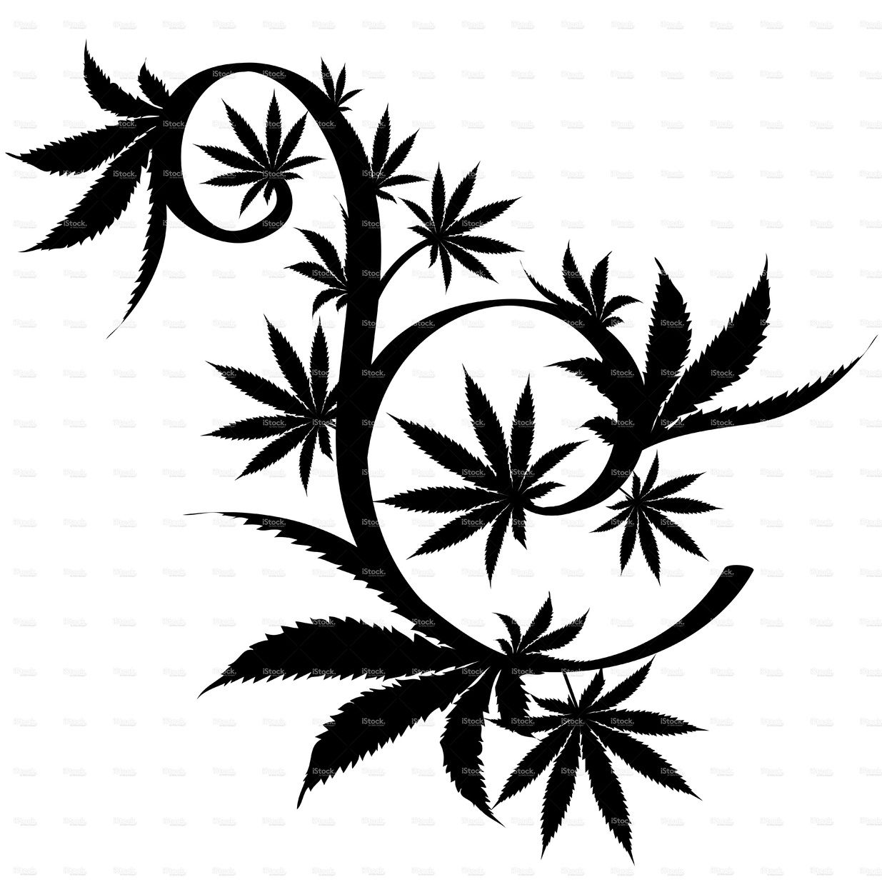 Black And White Vector Cannabis Leaf Composition