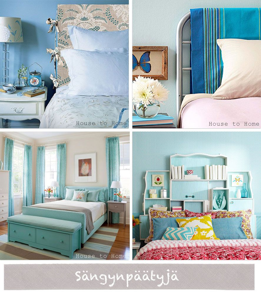 love the blue #bedroom on the top left - crisp!