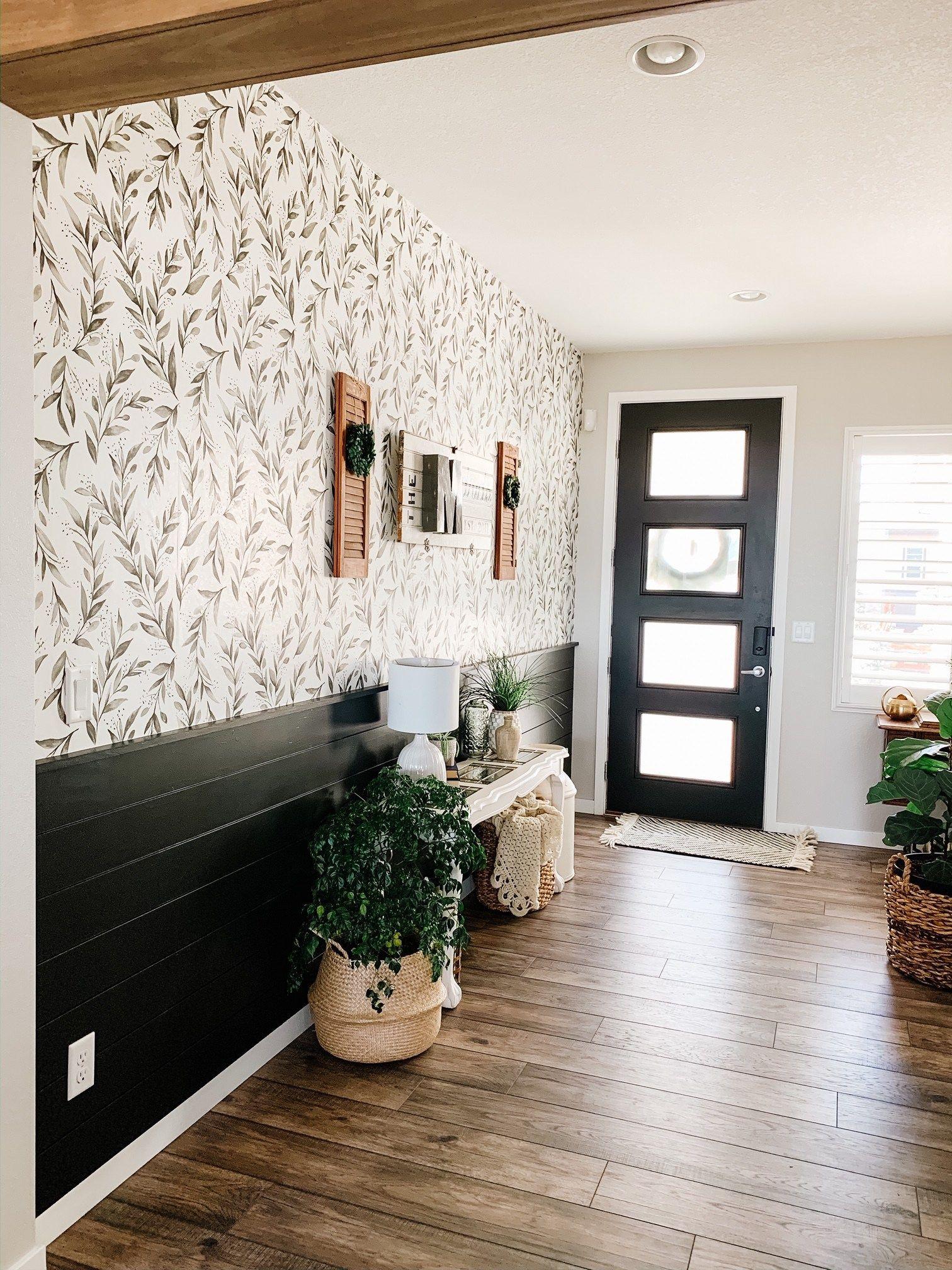 Entryway Peel And Stick Wallpaper Sprucing Up Mamahood Wallpapered Entryway Farmhouse Wallpaper Hallway Wallpaper