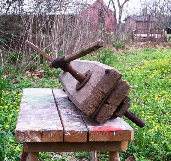 Antique Old Wood Bench Vise Clamp Tool Wooden By Esther2u2 On Etsy 125 00 Wood Bench Old Wood Bench Vise
