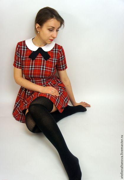 0cb5ebebd06 Платья ручной работы. Ярмарка Мастеров - ручная работа. Купить Красное  платье в шотландскую клетку. Handmade. Ярко-красный