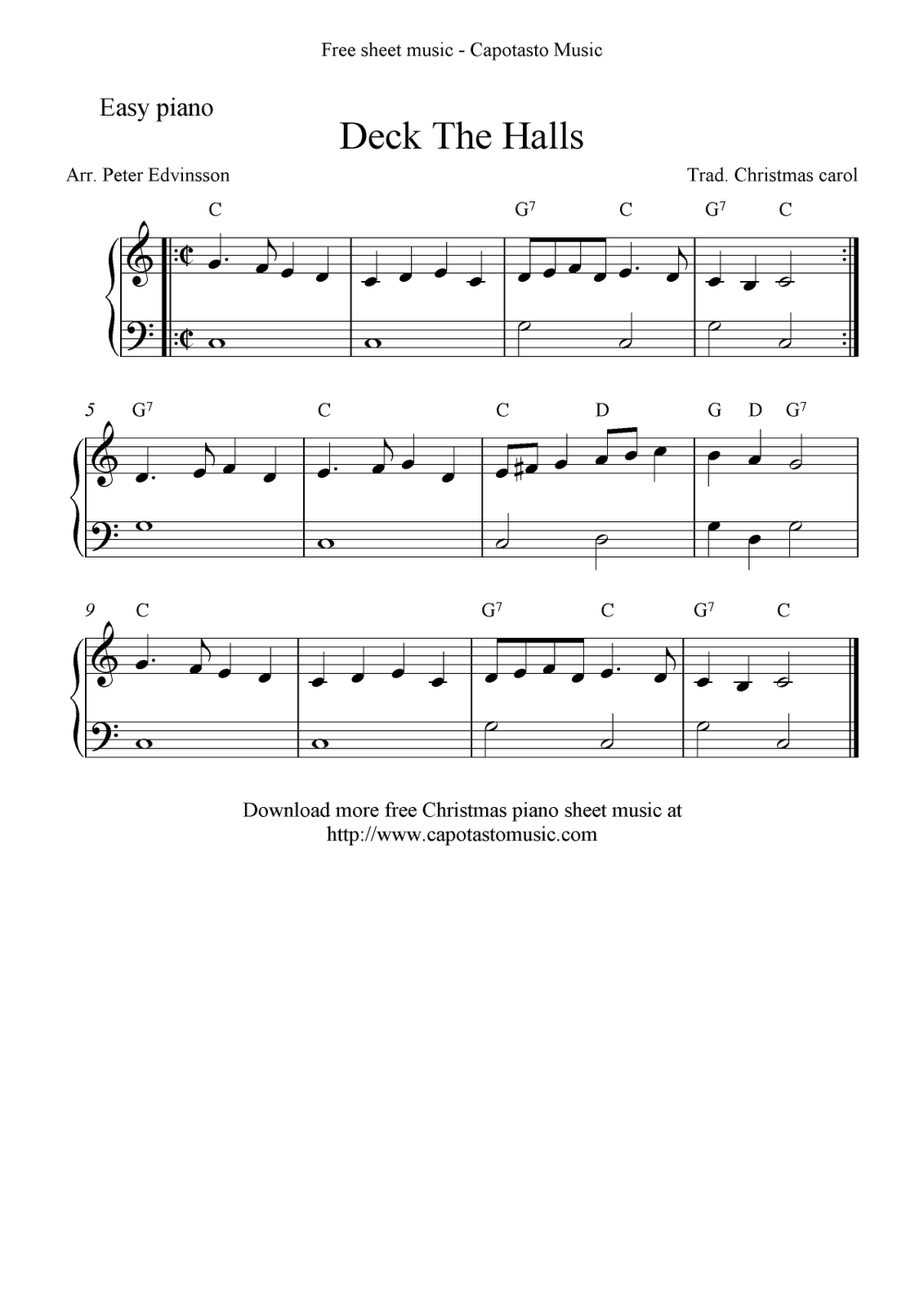 deck the halls music for piano google search