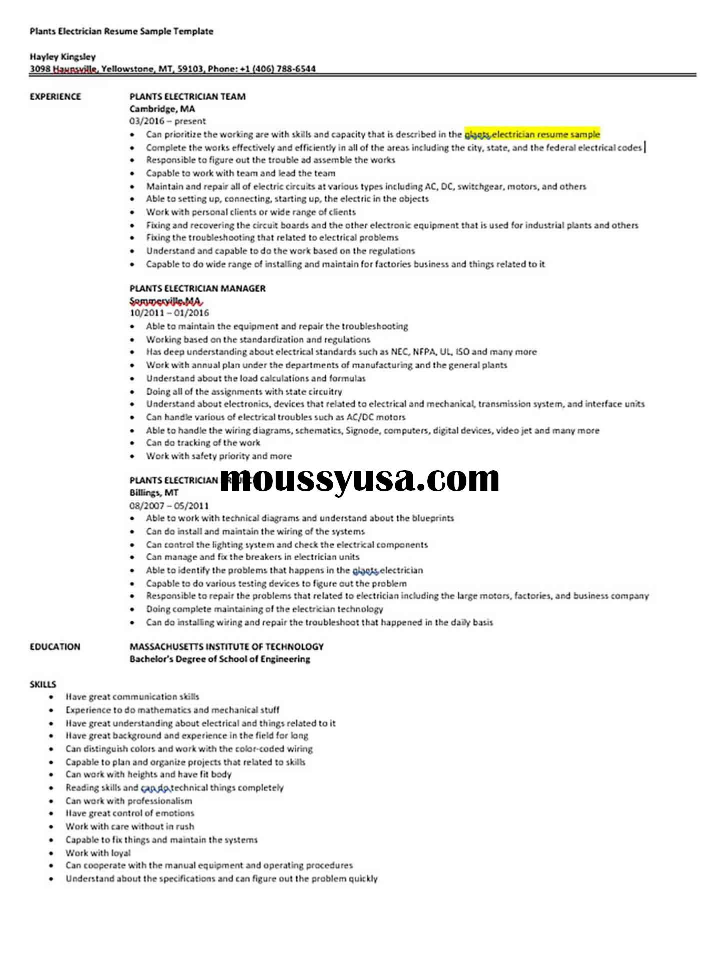 Plants Electrician Resume Sample Template Electrician Resume Business Template