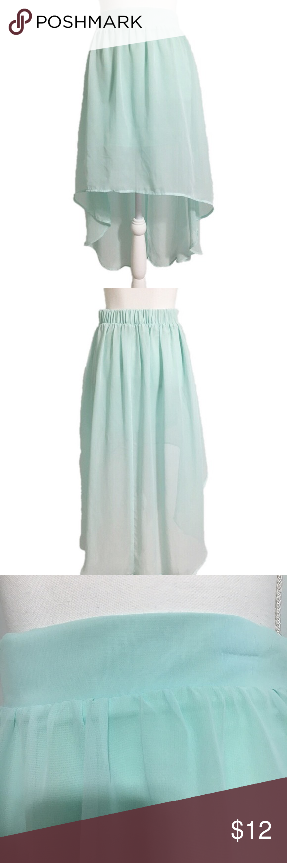 NWOT Charlotte Russe Turquoise Hi Lo Skirt Size S | High low skirt ...