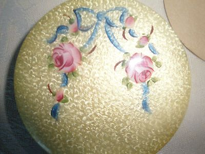 Vintage Excellent Guilloche Enamel Compact Hand Painted Roses Bow | eBay