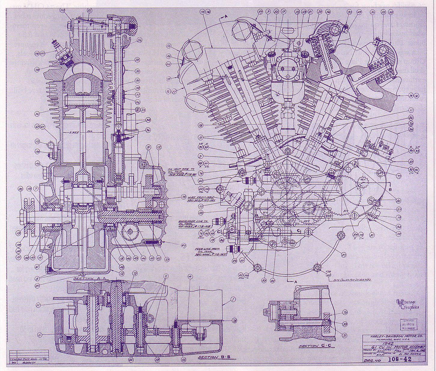 knucklehead blueprint harley stuff engine harley davidson engine drawing
