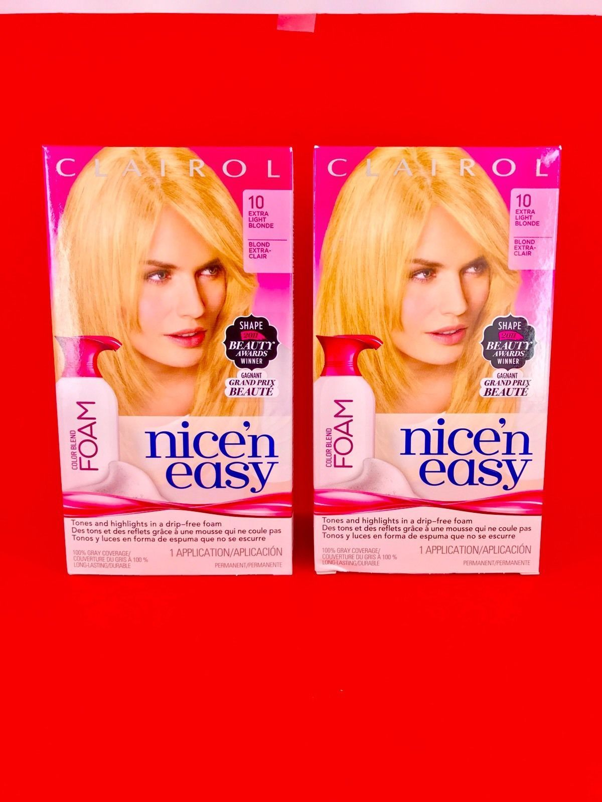 2 Pack Clairol Nice N Easy Permanent Hair Color Blend Foam 10 Extra