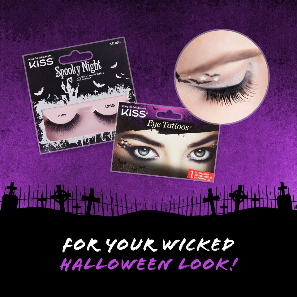 bf5b69cdde1 Fashion yourself with Kiss Lashes in 'Pretty' + Halloween Eye Tattoos for a  wicked look! #HalloweenLook #KissLashes