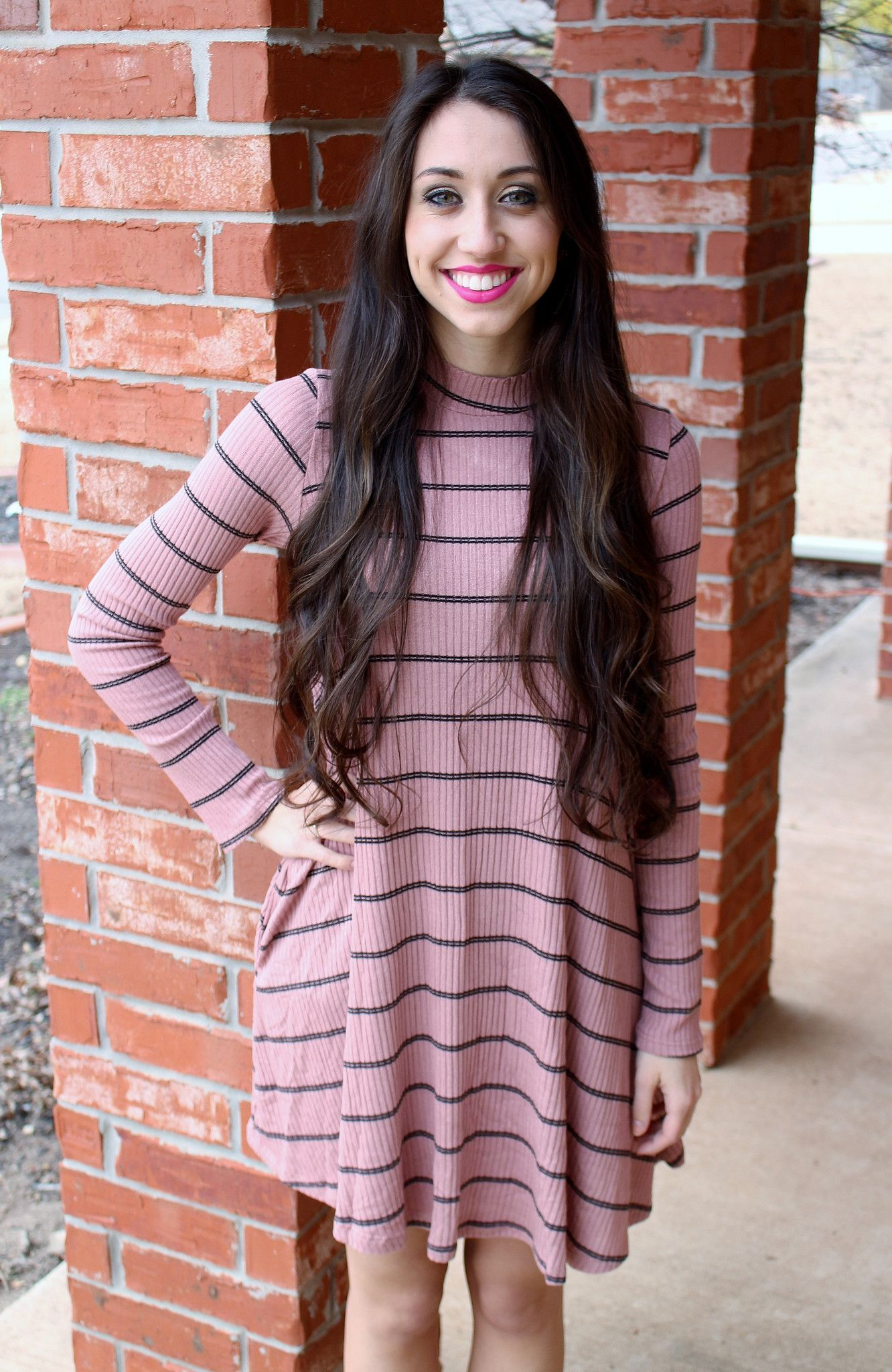 Rose Striped Dress with Pockets