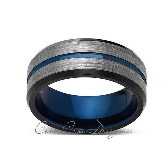 Blue Tungsten Wedding Band Gray Brushed Tungsten Ring 8mm