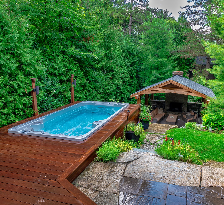 Models The Spa Shoppe Sloped Backyard Backyard Pool Backyard Pool Designs