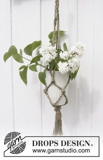 "Blossom - Tvunnet DROPS blomsteroppheng i ""Cotton Light"" - Gratis oppskrift by DROPS Design"