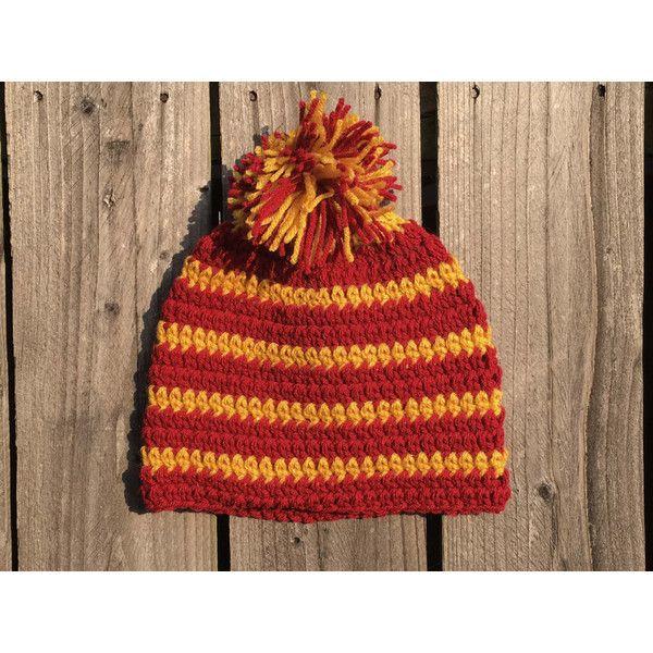 e5d428db4cf Harry Potter Gryffindor Striped Crochet Beanie Hat with Pom Pom on... (350