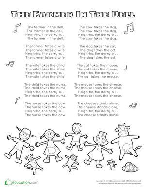 farmer in the dell coloring pages | The Farmer in the Dell Song | Preschool songs, Preschool ...