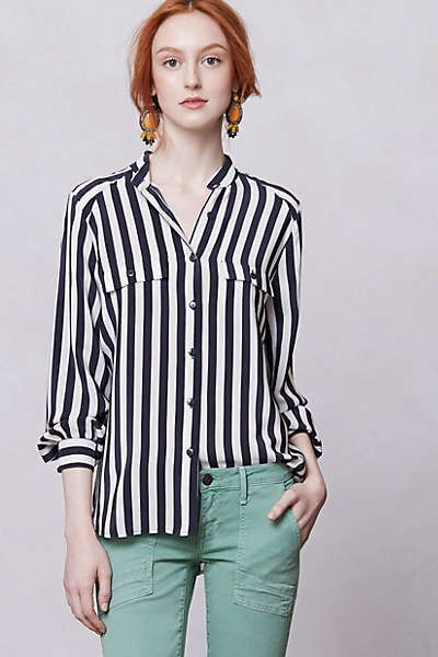 Anthropologie styling - stripes + mint + statement earrings