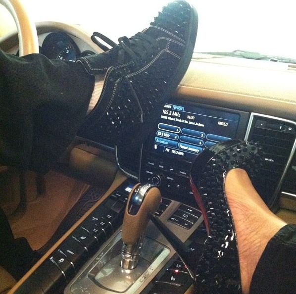 c212d4e7b9 love this - his: studded black sneakers; hers: black studded christian  louboutin alti pumps #hisandhers #shoeporn