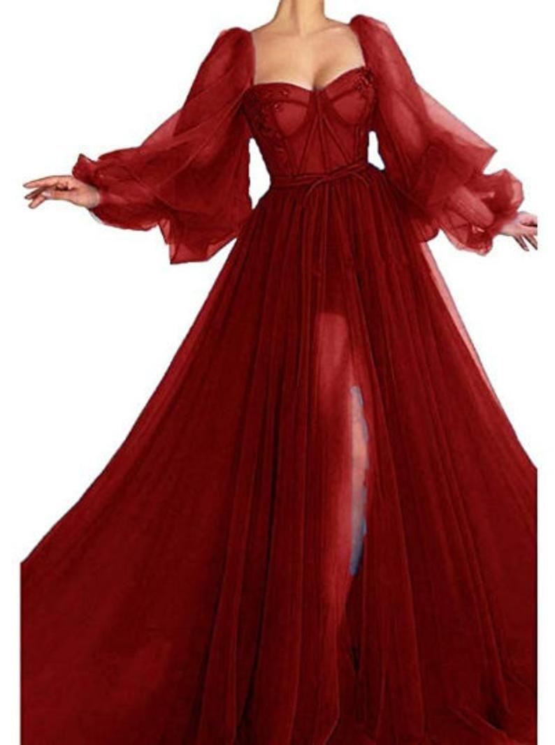 The Lantern Sleeve Dress Tulle Lace Dress Prom Dress Etsy In 2021 Ball Dresses Fairytale Dress Pretty Dresses [ 1067 x 794 Pixel ]