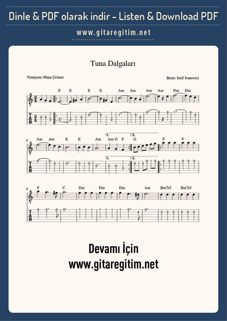 Tuna Dalgalari Gitar Nota Tab Gitaregitim Net Dalga Sarkilar Gi Tar