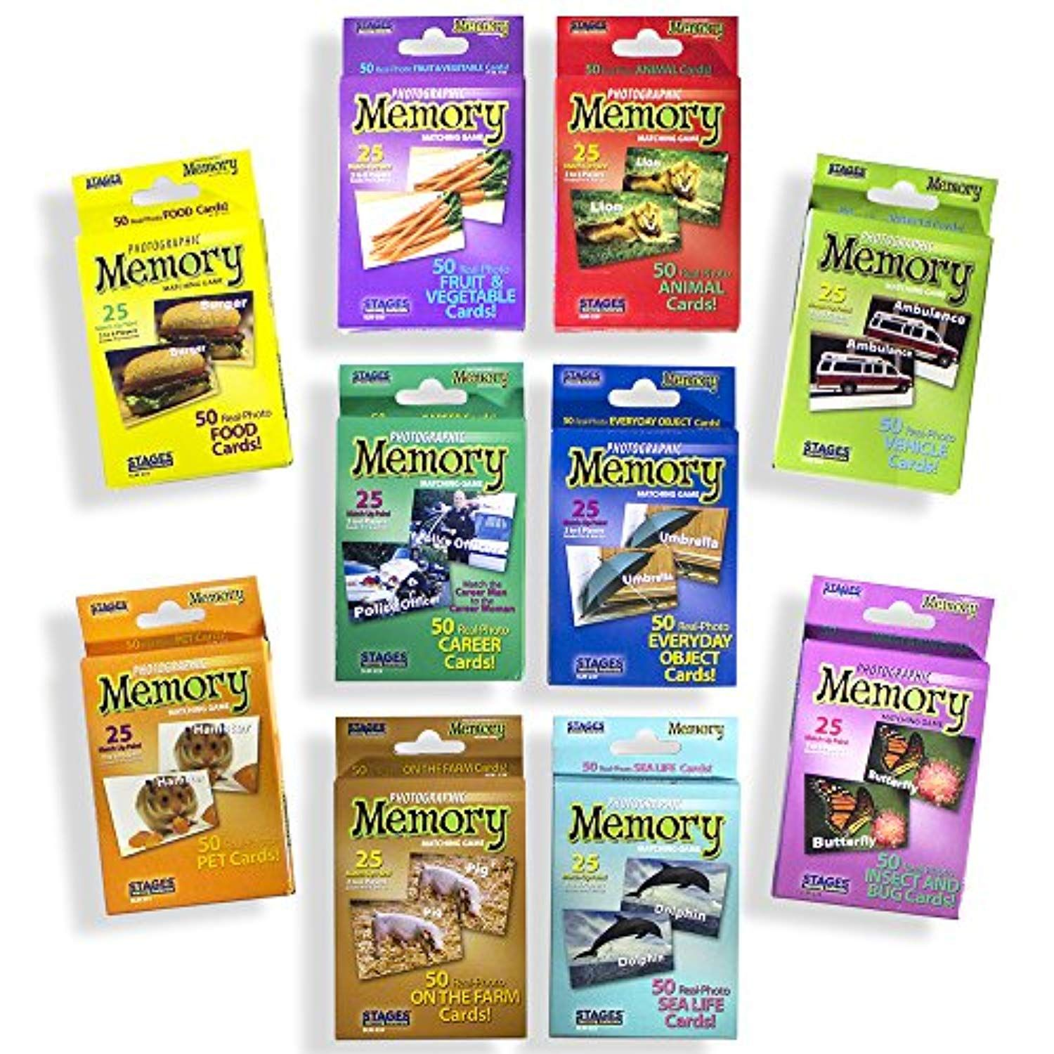 Stages Learning Set of 10 Picture Memory Card Real Photo