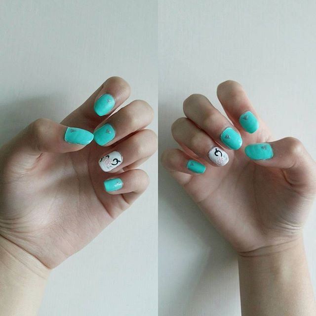 #nails #nailstagram #nailart #nailpolish #green💚 #summernails