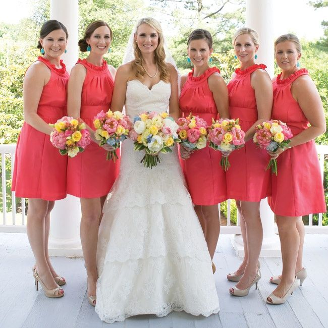 Coral Wedding Gowns: Pin By The Knot On Bridesmaids