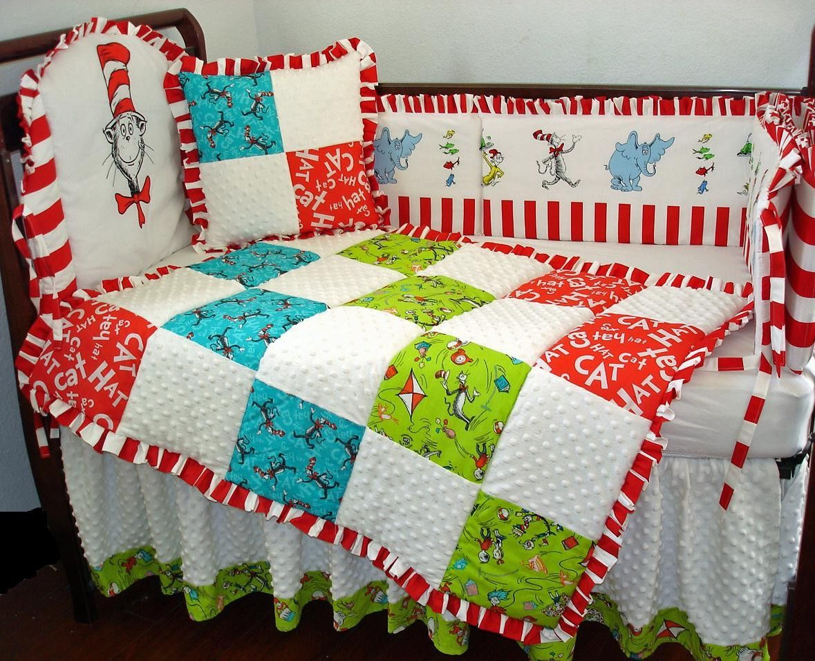 CUSTOM NURSERY CRIB SET INCLUDES BLANKET, DUST RUFFLE, PILLOW AND BUMPER  MADE WITH DR