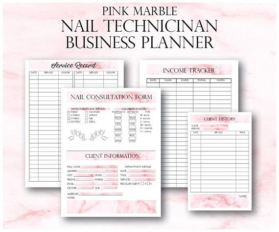 Pink Marble Nail Technician Small Business Planner Artist Client Forms Tech Printable
