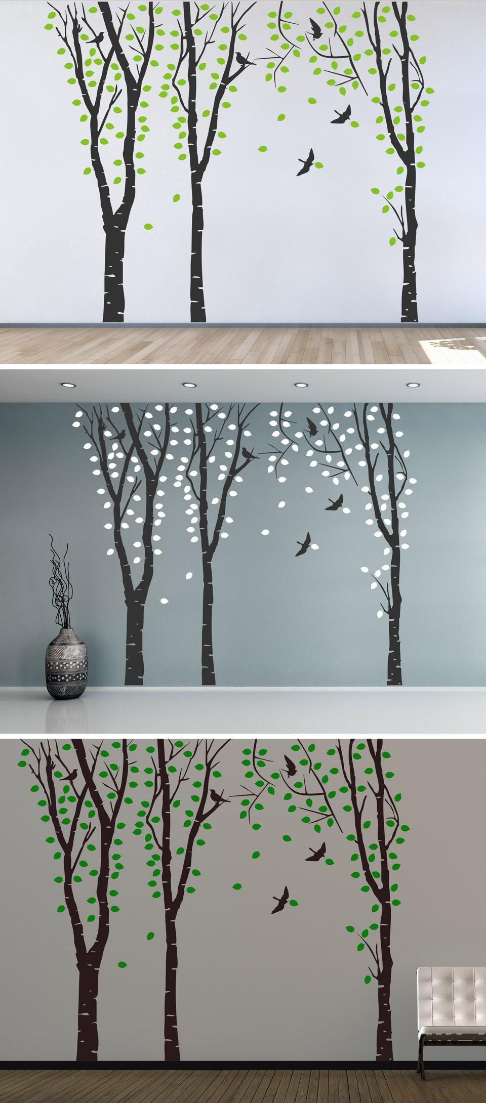 Unglaublich Wandtattoo Bäume Dekoration Von Zweifarbiger Birkenwald Von Wandtattooreview