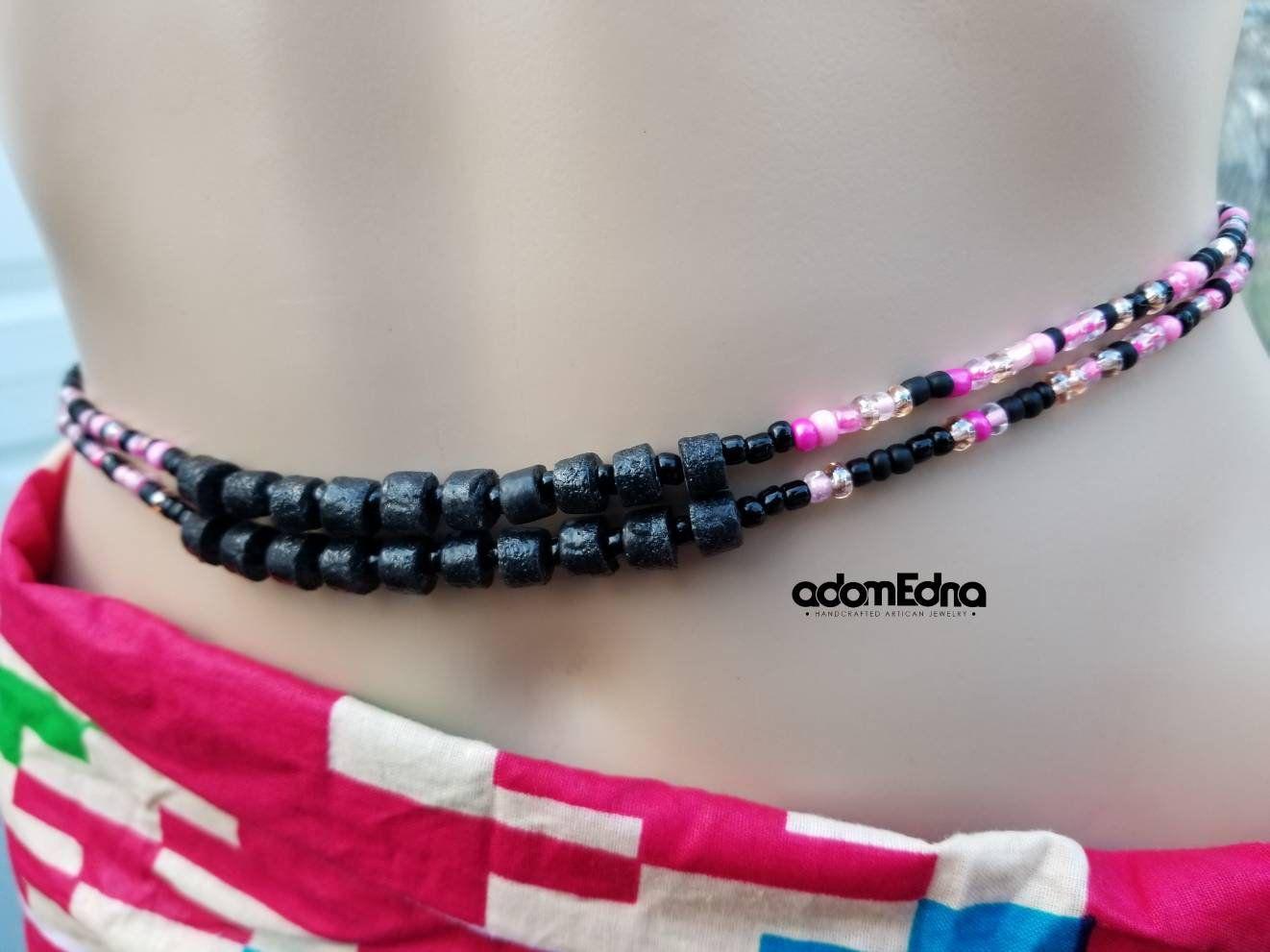 Black Pink Night Mix Waist Beads Krobo Belly Beads Waist Etsy Black Beaded Bracelets Chain Extenders African Beads
