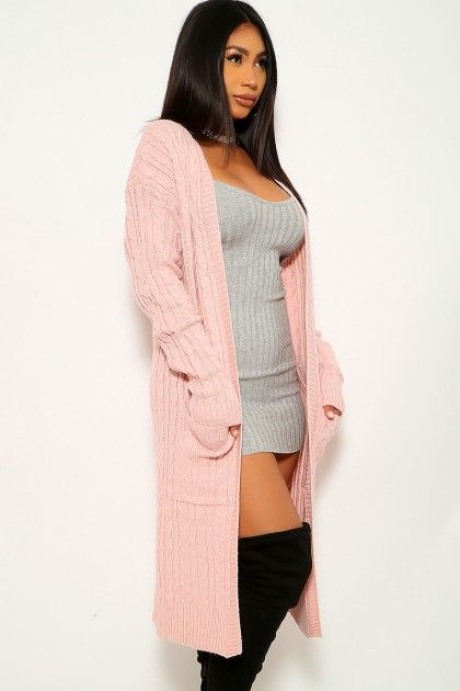 Dusty Pink Open Front Long Sleeves Cardigan Affiliate Sponsored Open Pink Dusty Front Long Sleeve Cardigan Outerwear Outfit Outerwear Dress