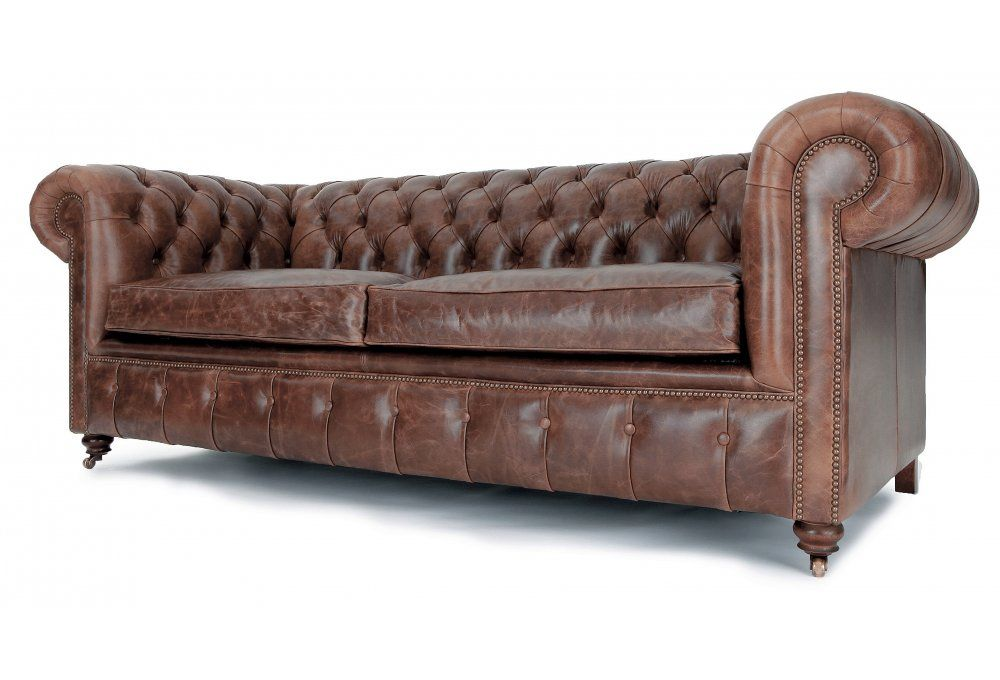 Historian Vintage Leather 3 Seater Chesterfield Sofa Bed From Old