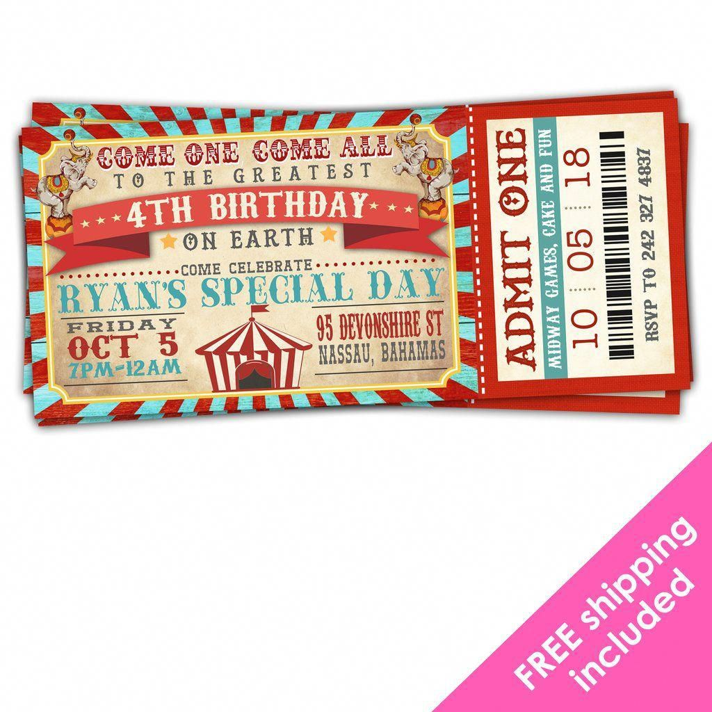 Greatest Showman Birthday Ticket Invitation For A Vintage Circus Bir Circus Birthday Party Theme Vintage Circus Birthday Party Circus Birthday Party Invitation