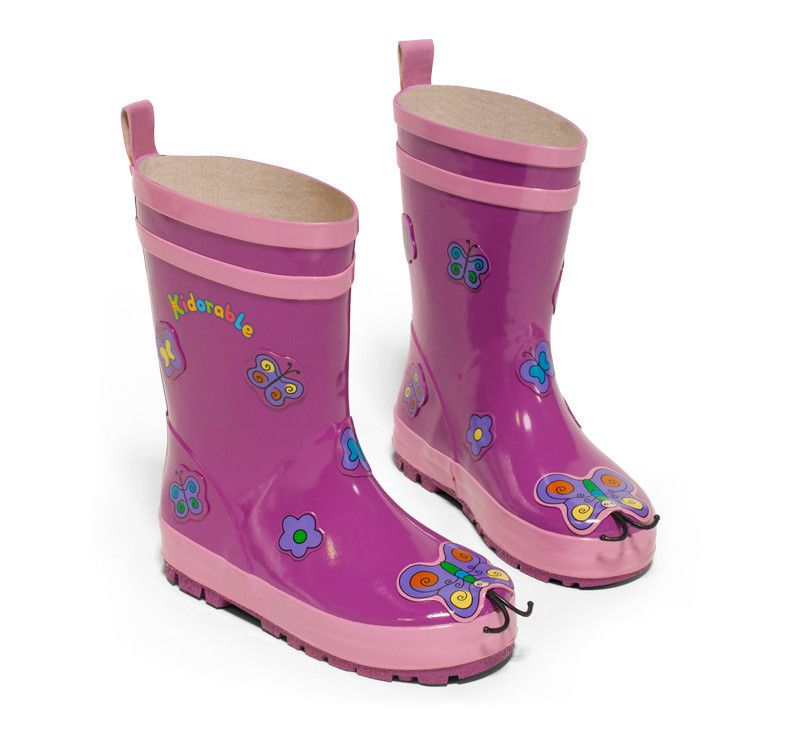 Kidorable: Butterfly Rain Boots Little girls will want to take flight in the Butterfly rain boot style by Kidorable. These playful purple water stompers with butterfly decals make wonderful gifts for kids who love to let their imagination roam. Made of natural rubber, they are guaranteed to be the cutest boots in your neighborhood.