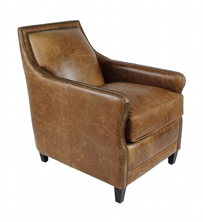 Bronte Brown Distressed Leather Arm Chair D I S T R E S