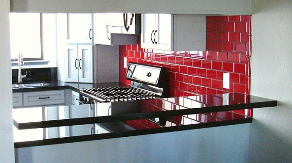 Striking Absolute Black Granite With A œfloating Bara And Red Subway Tile Red Subway Tile Red Subway Tile Backsplash Red Backsplash