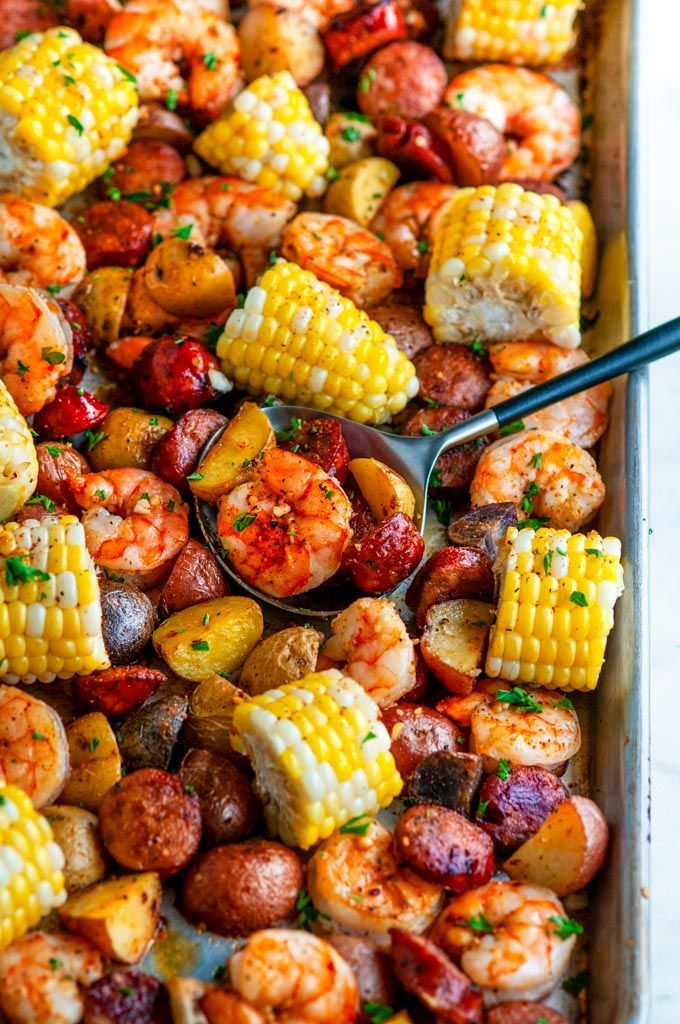 Sheet Pan Shrimp Boil   400°F   All the flavors of a classic shrimp boil without the mess! Cr... Sheet Pan Shrimp Boil   400°F   All the flavors of a classic shrimp boil without the mess! Creole seasoned juicy shrimp, andouille sausage, potatoes and tender corn. From ,