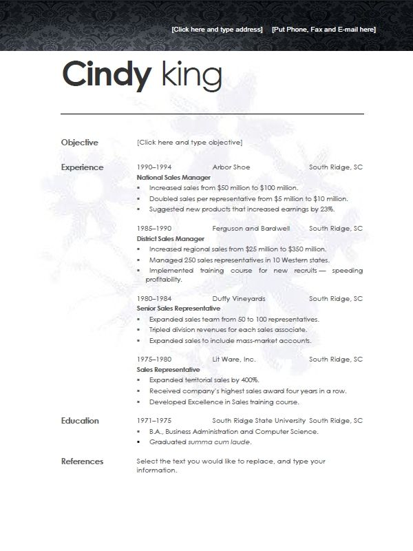 resume template preview first page only has clean and modern - resume template for sales