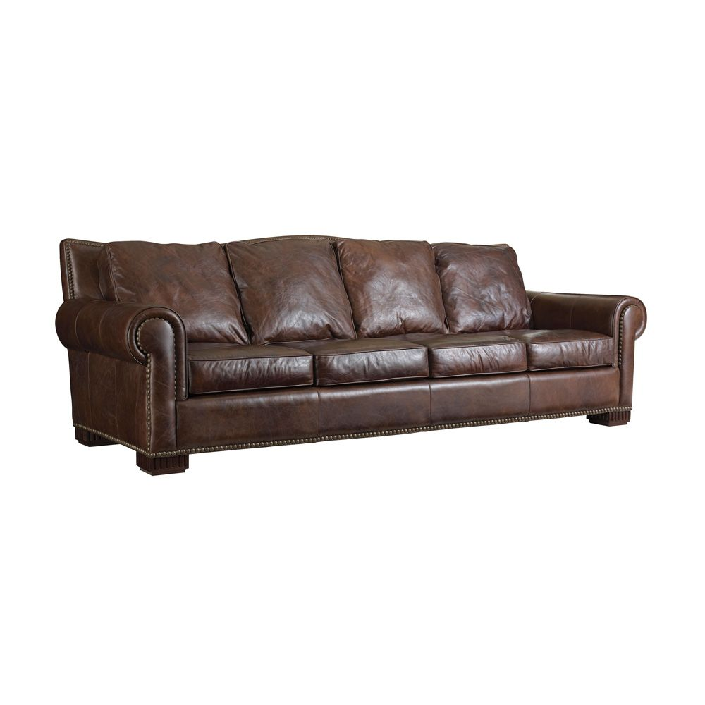 Henredon Henredon Leather Company Rolled Arm Sofa With Nailhead Trim Rustic Leather Sofa Full Grain Leather Sofa Bedroom Furniture For Sale