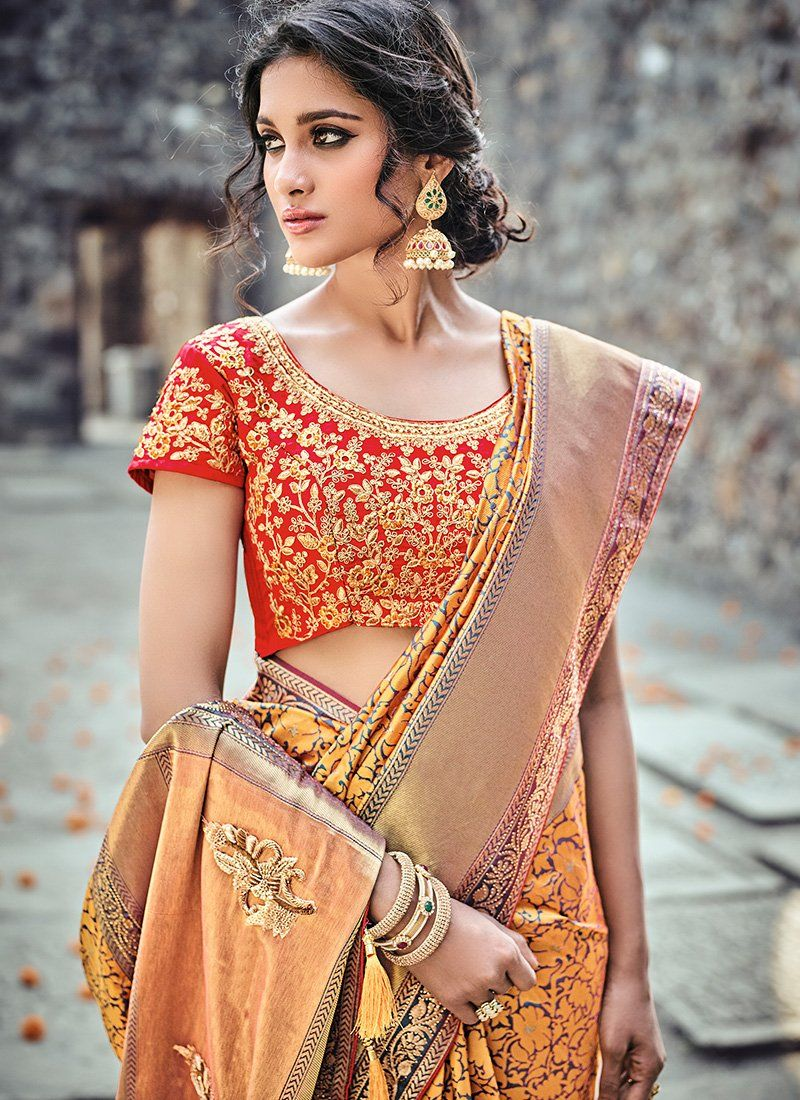 Silk saree blouse designs without embroidery red and yellow embroidered banarsi silk saree  indian sarees