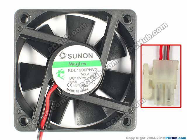 Sunon Kde1206phv2 Ms A Gn Dc 12v 1 0w 2 Wire 2 Pin Connector